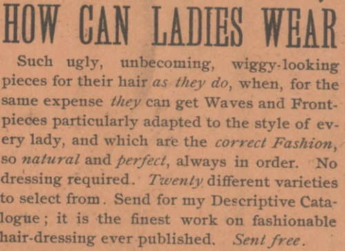 Mrs Thompson's hairpiece ad