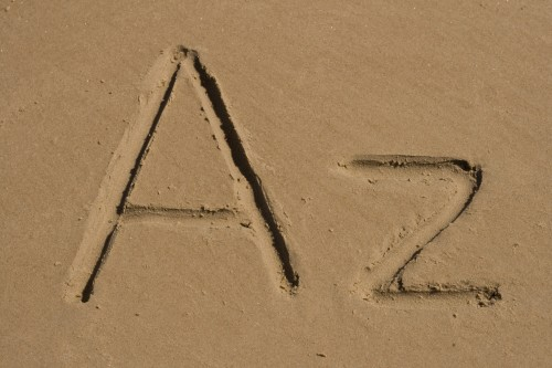 A, Z letters on the sand for the A-Z of Well Put Words