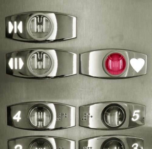 Elevator keypad with love-heart